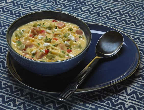 ... cheddar broccoli, red bell pepper, cream style corn, chop green