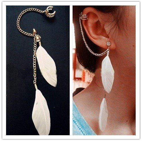 Gold White Feather Ear Cuff Stud Earrings Chains Gothic Punk