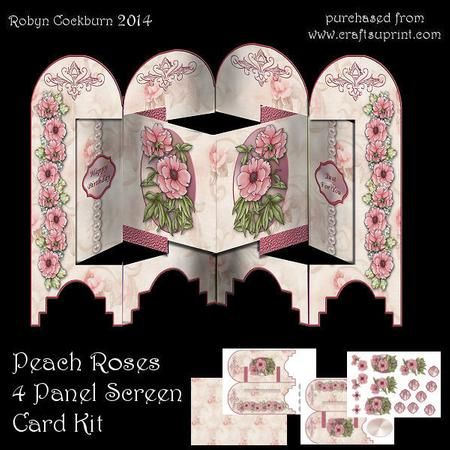 Peach Roses 4 Panel Screen Card Kit on Craftsuprint designed by Robyn Cockburn…