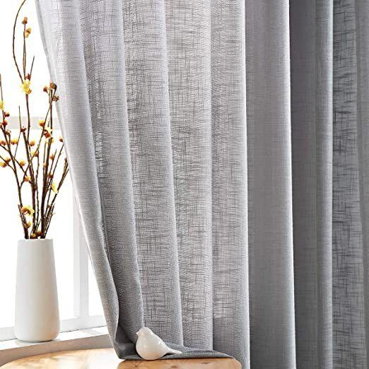 fmfunctex grey semi sheer curtains for