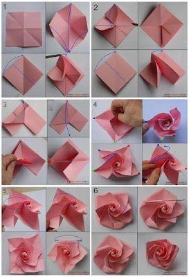 J Ossorio Papercraft Origami O Papiroflexia De Una Rosa Instrucciones De Origami Manualidades Origami Manualidades
