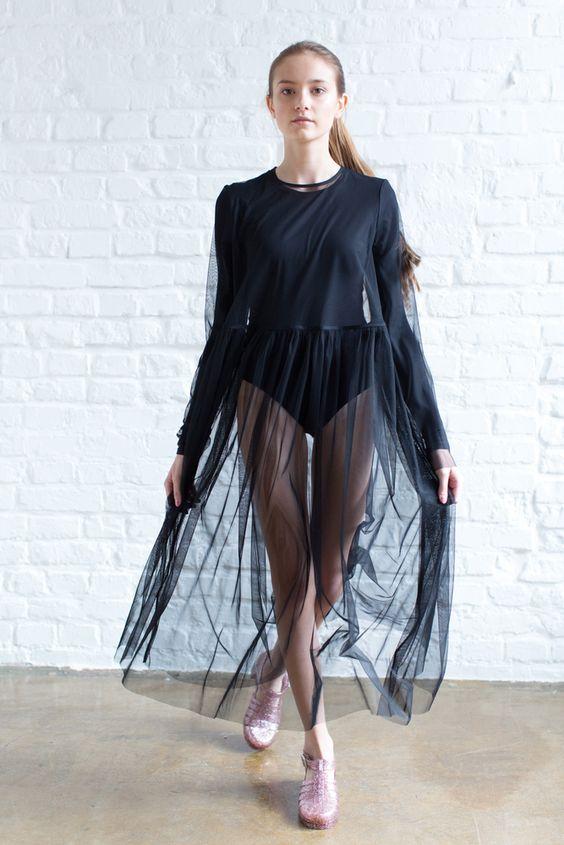 Vestido transparente preto / vestido preto transparente: