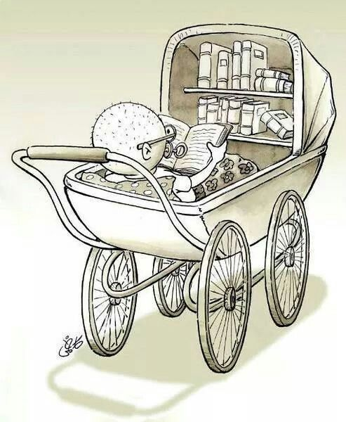 baby in carriage reads: