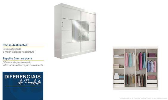 Quarto de Casal Completo com Guarda-roupa 2 Portas de Correr com Espelho, Cabeceira Casal/Queen, Criados-mudos e Prateleiras Branco - Caaza | Lojas KD