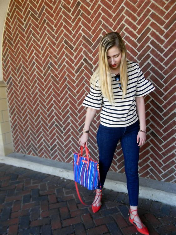 Preppy style // J.Crew ruffle sleep stripe top, Madewell skinny jeans and Vera Bradley satchel