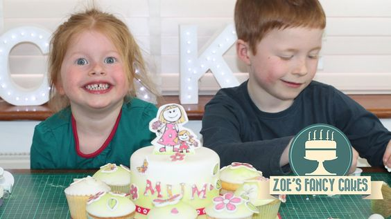 Mothers day cake decorating with kids