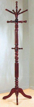 """Traditional Dark Walnut Finish Wood Coat Rack by Coaster Home Furnishings. $77.90. Traditional Dark Walnut Finish Wood Coat Rack  Dimension: 72""""H Finish: Dark Walnut Material: Wood Coat / Hat Rack Item features spinning top Great and practical in use for any home and office Also available in tobacco finish Assembly required. Save 13% Off!"""