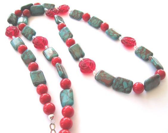 Christmas Holiday Necklace Long Necklace by MissBusyBeeJewelry, $26.00
