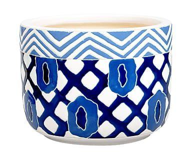 Portavaso in ceramica blu e bianco Galila, 26x24 cm