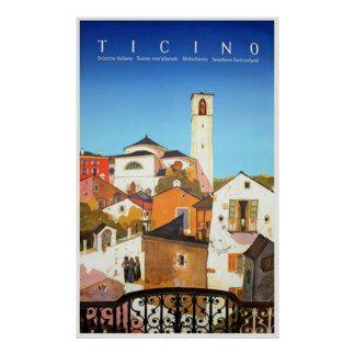 Vintages Reise-Plakat Tessins, die Schweiz Poster