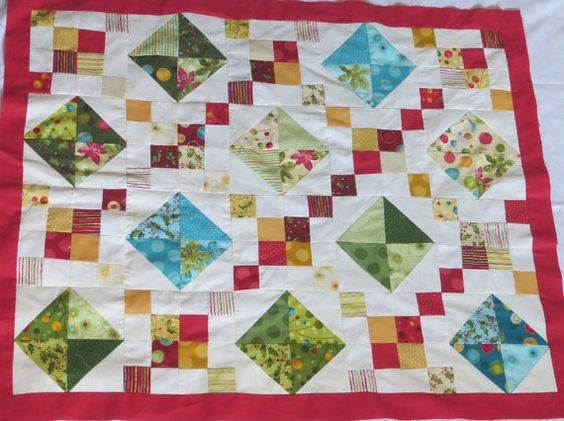 bright Christmas Baby Quilt  baby first blankets by Sheynale