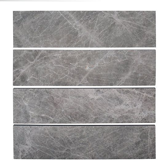Jeffrey Court 3x12 Field Tundra Grey 10mm Marble 1pk 4pcs 1sf The Home Depot Canada Jeffrey Court Polish Marble Floor Marble Wall Tiles