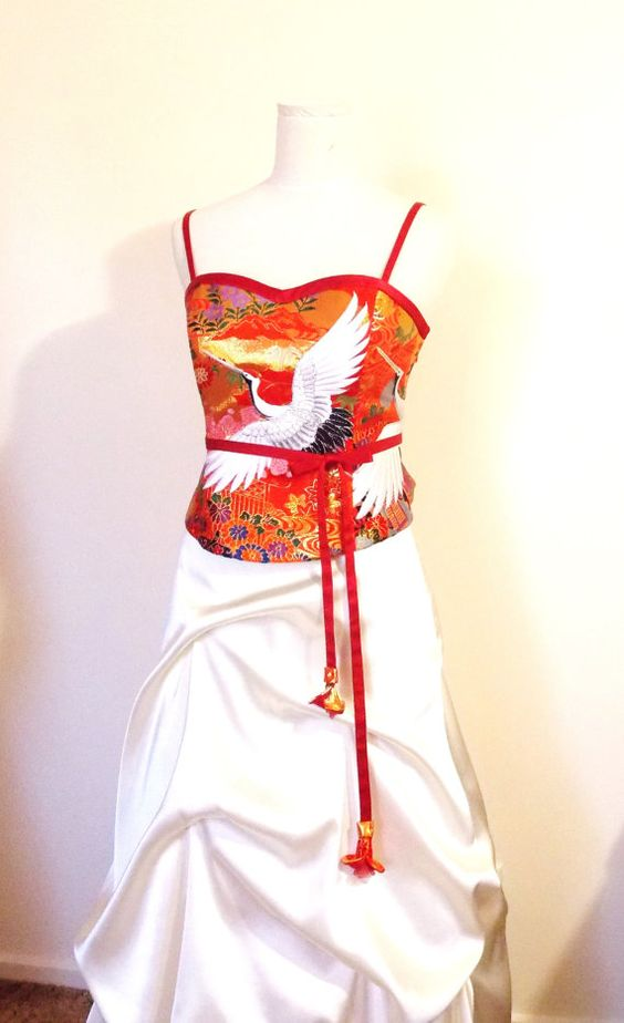 KIMONO dress made with vintage wedding KIMONO red by Shantique