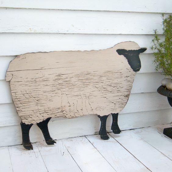 Primitive Country Vintage Folk Art Rustic 2//Set Blackface Sheep Lamb Farmhouse
