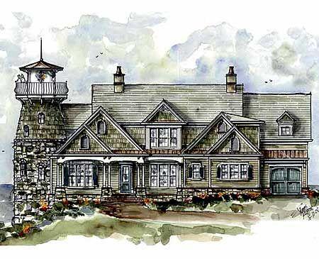 Plan 15722ge Shingle Style Home Plan With Lighthouse