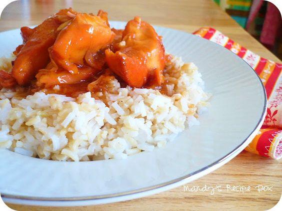 Crock pot - Orange Chicken. (raw, cubed chicken breast) serve over rice