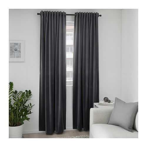 Sanela Dark Grey Room Darkening Curtains 1 Pair 140x250 Cm Ikea In 2020 Red Curtains Living Room Dark Curtains Red Velvet Curtains