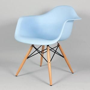Arm Chair in Blue with Straight Wood Legs