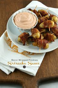 Authentic Suburban Gourmet: Friday Night Bites | Bacon Wrapped Potatoes with Sriracha Sauce