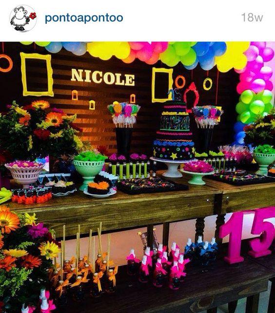 decoracao festa glow:Festa Neon