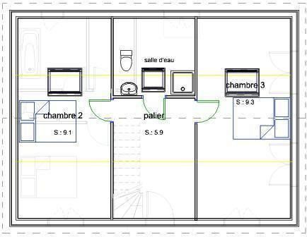 Plan maison combles 2 chambres id e maison pinterest bbc for Plan amenagement comble