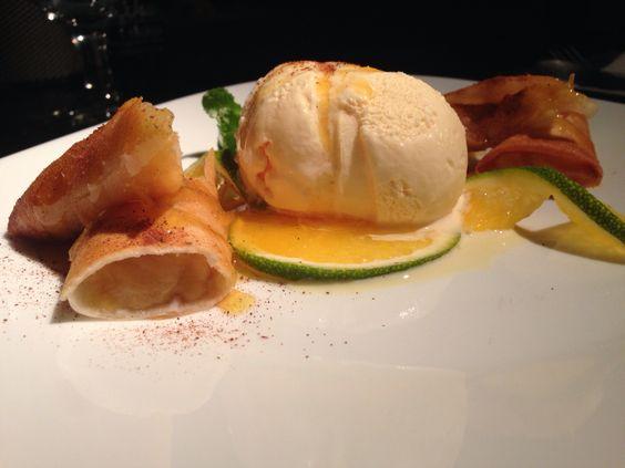 Harumaki de banana e sorvete de creme