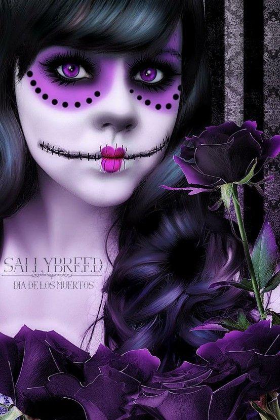 pretty purple black dia de los muertos makeup dia de los muertos cosplay pinterest. Black Bedroom Furniture Sets. Home Design Ideas