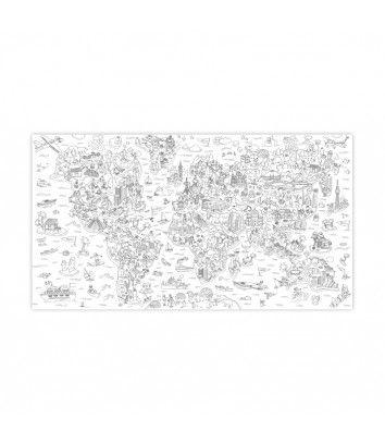 Carte du monde à colorier pour enfant Atlas de chez Omy - Little Fabrik