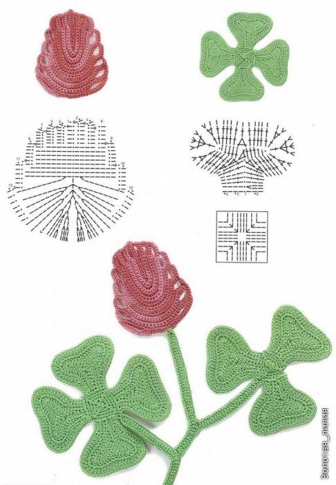 Tulip in Irish crochet, found on : http://www.liveinternet.ru/users/lida_iljinych/post189244210/