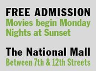 Screen on the Green- Outdoor movie Monday nights on the mall in July & August