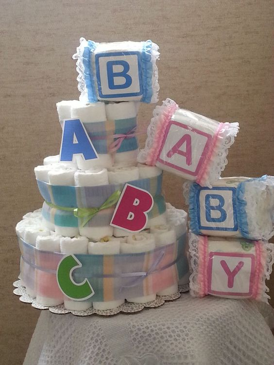 3 Tier Diaper Cake ABC Alphabet Baby Shower Gift Centerpiece in Baby, Diapering, Diaper Cakes | eBay