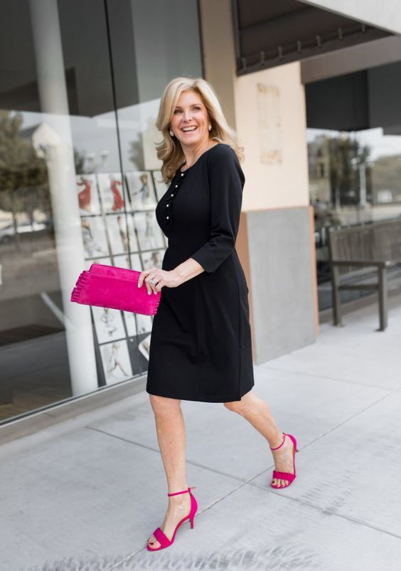 An elevated, modern take on the classic LBD (little black dress). @tanyafosterblog styles her Talbots Exclusive Anniversary Collection Little Black Dress with hot pink accessories. (PC: Mary Hafner)