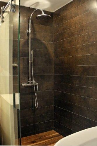 Horizontal plank tiles for the home pinterest the o for Horizontal tile shower