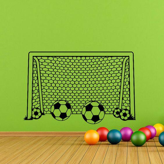 Boy Wall Decal Soccer Football Goal Net Decals by FabWallDecals