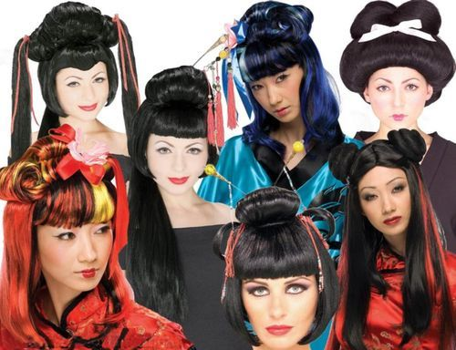 New Oriental Wigs Geisha Japan China Asia Costume Hair $22.99 or less with free standard U.S. shipping.    Have fun and add some oriental flair to your life with an Oriental style female wig.