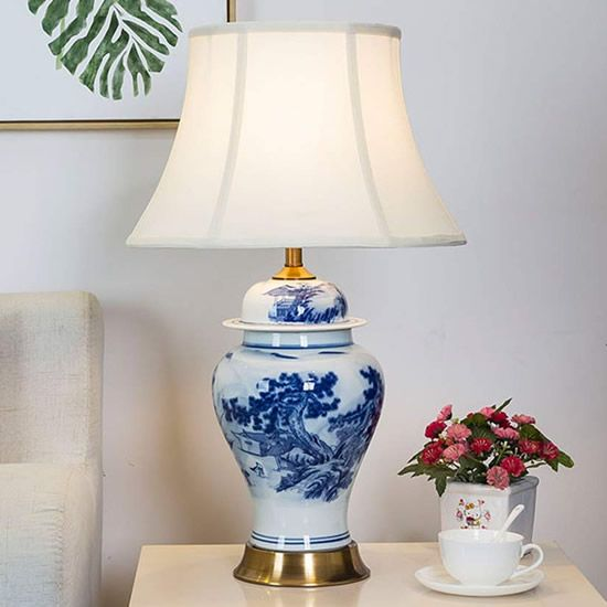 Chinese Farmer Landscape Blue And White Porcelain Table Lamp Blue White Chinoiserie Table Lamps Deep Discount Li Table Lamp Jar Table Lamp Owl Table Lamp