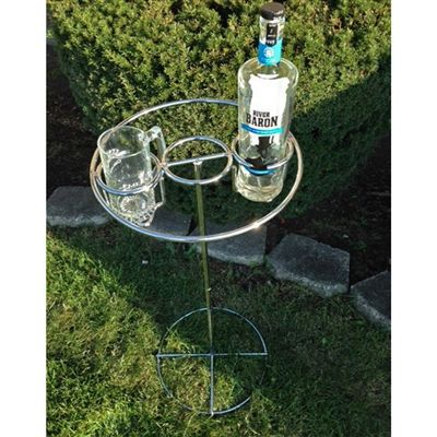 Backyard Butler Deluxe Drink Holder.  Heavy duty chrome outdoor drink holder keeps your beverages close, clean & safe.  Perfect for your deck, patio or poolside! #butler #drinkholder #tailgating