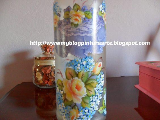 Arte com tinta e linha - By Inês Andrade: Vidro jatiado com decoupage de rosas - Um conjunto charmoso