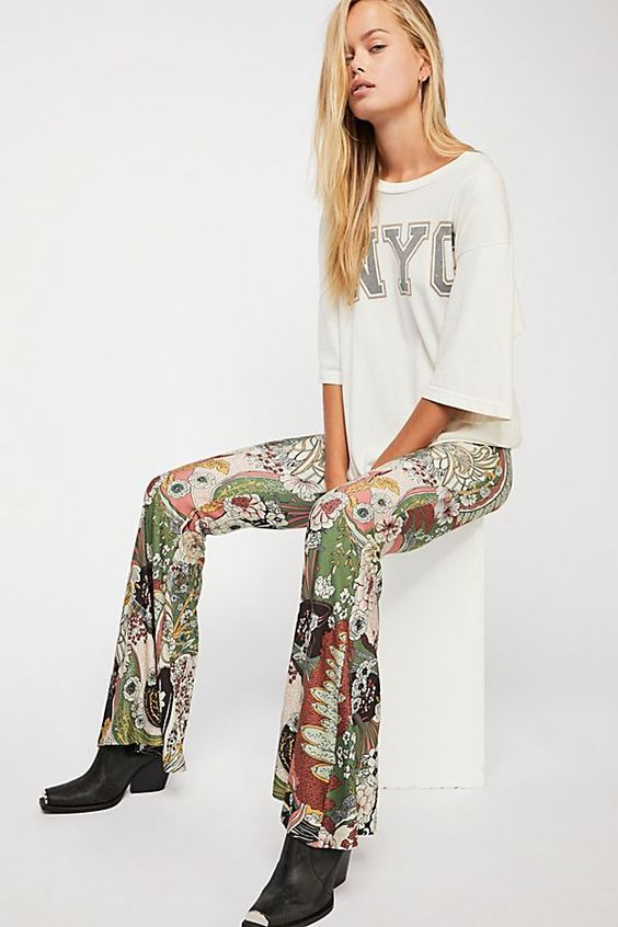 "With the simple tee these ""bell bottoms"" do not look over the top!"