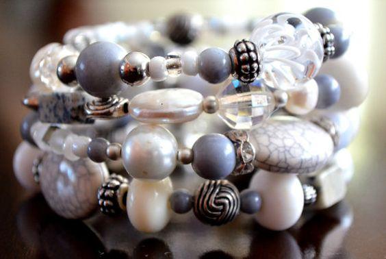 Grey Monochrome Beaded Bracelet by FreeToBeadYou on Etsy