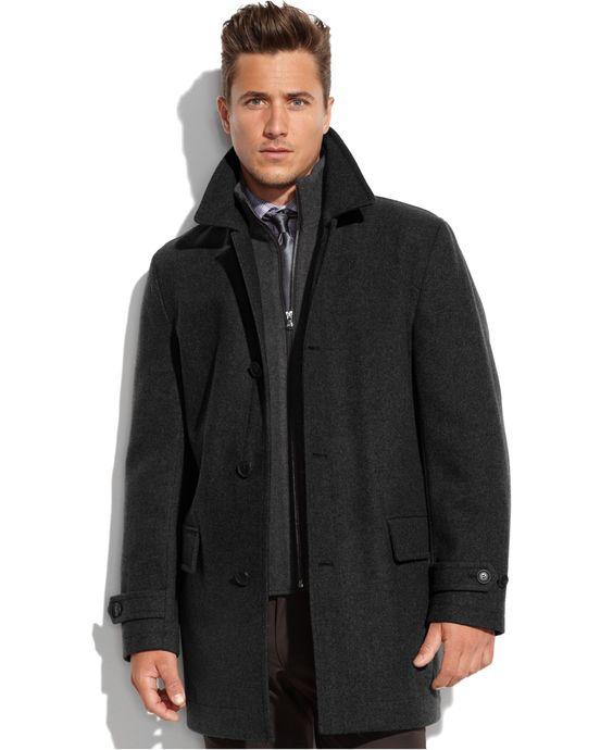 Michael Michael Kors Milos Wool-Blend Knit-Bib Car Coat - Coats