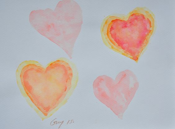 Multi hearts painting, original watercolor painting with signed size 21 x 29.7 cm by Guykantawan on Etsy