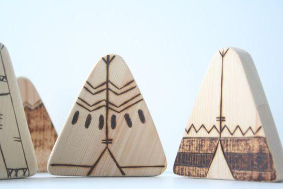 Wood Teether Toys | Baby Tepee Blocks Set | Wooden Teething | Baby Shower Gift…
