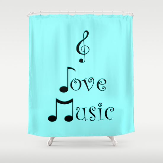 I Love Music - Techno Turquoise Shower Curtain