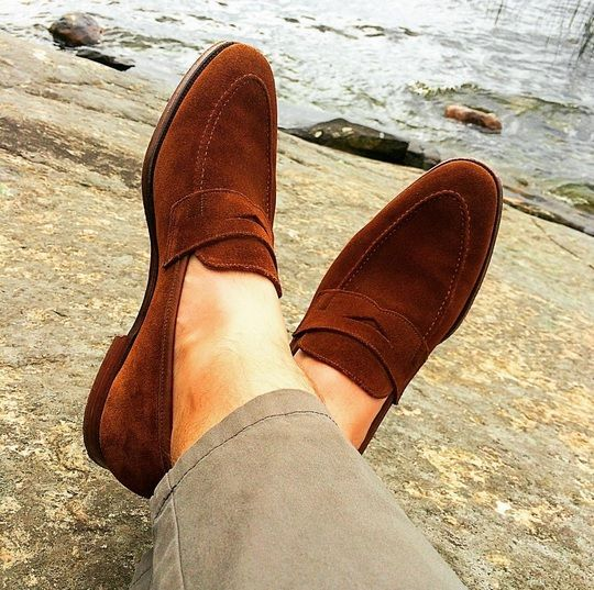 Sydney, a penny loafer made from the finest calf leather or suede and single leather soles. From the Men's Main Collection.