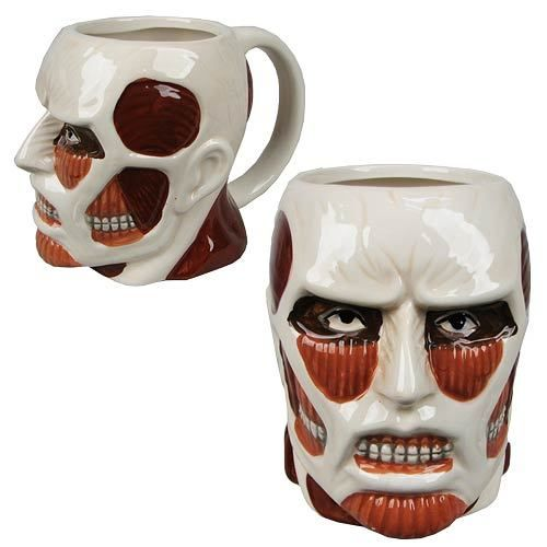 Attack on Titan | Colossal Titan Face Molded 16 oz. Mug  This is the largest Titan ever seen in the Attack on Titan series. It first appeared outside the District of Shiganshina. Unlike other Titans, it is intelligent and does not really show an interest in eating humans. This Attack on Titan Colossal Titan Face Molded Mug features this beast's sinewy head as a ceramic mug you can drink from! #nesteduniverse