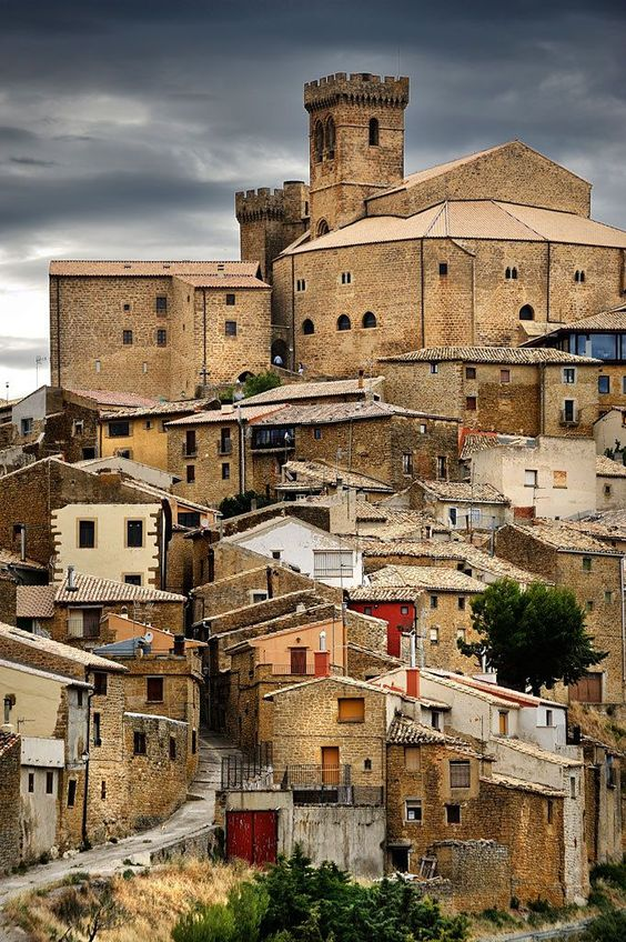 Medieval village of Ujue, Navarra, Spain.