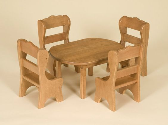 Doll Table Chair Set Wood American Toy Furniture от RusticToyBarn