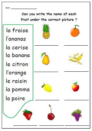 French Worksheet - Kids Learning Sheet - Write Fruit Words - Kids ...