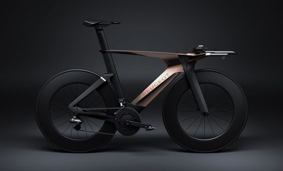 Peugeot Onyx Concept Time Trial Bicycle, made from full carbon, fitted with Shimano electronic shifting and finished in a stunning matte black & copper finish.